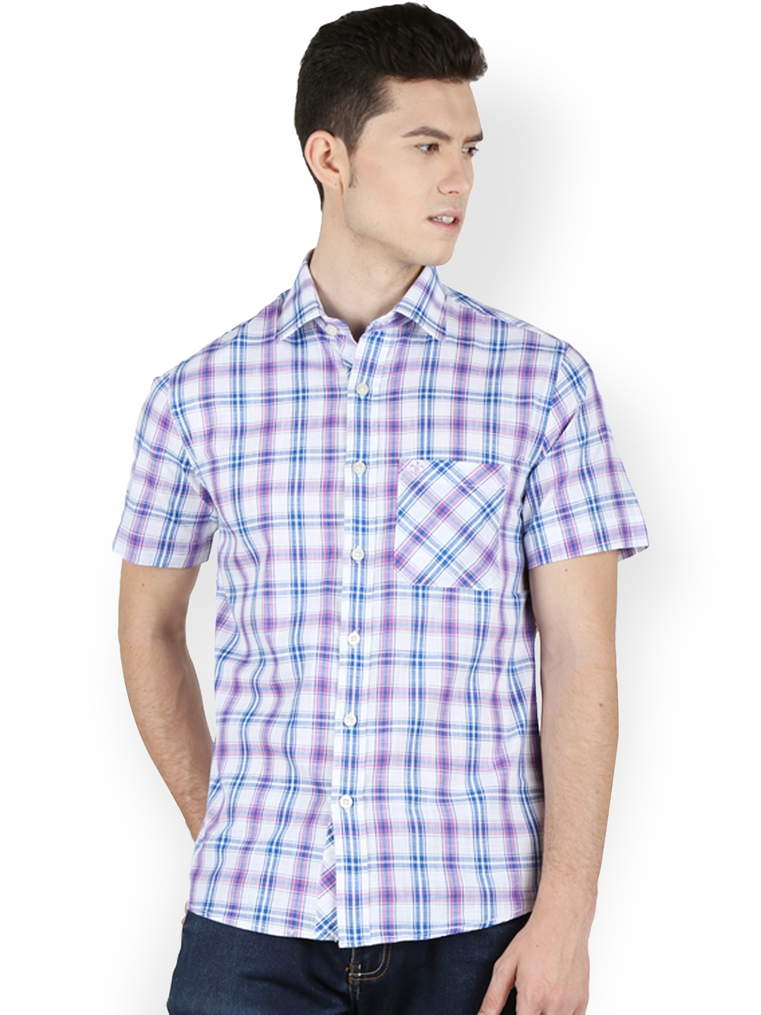 Myntra Kingswood Men Purple White Checked Relaxed Fit