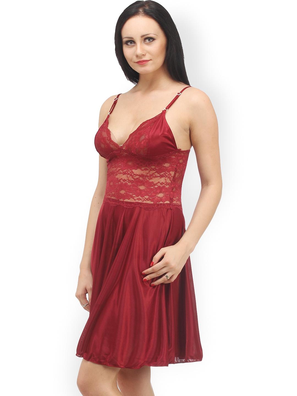 myntra klamotten maroon baby doll nightdress x07 570839 buy myntra klamotten nightdress at. Black Bedroom Furniture Sets. Home Design Ideas