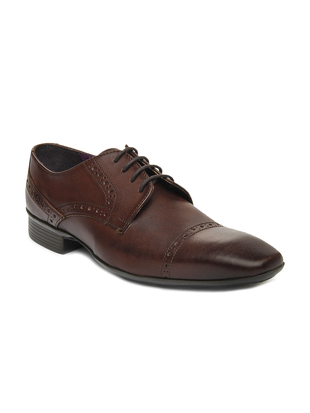 myntra knotty derby brown semi formal shoes 241593