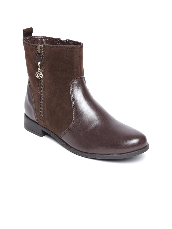 myntra la briza brown suede flat boots 491951 buy