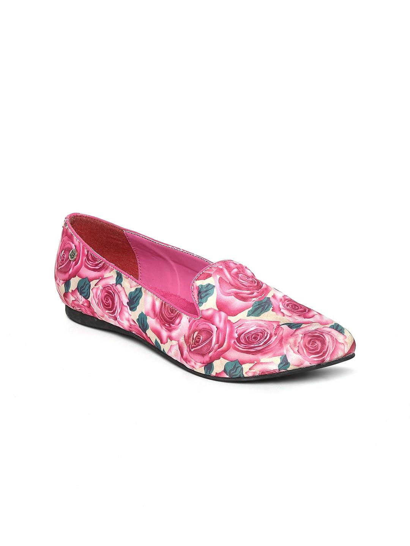 myntra la briza pink floral print flat shoes 392952
