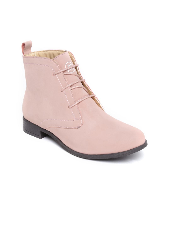 myntra la briza pink suede flat boots 491947 buy