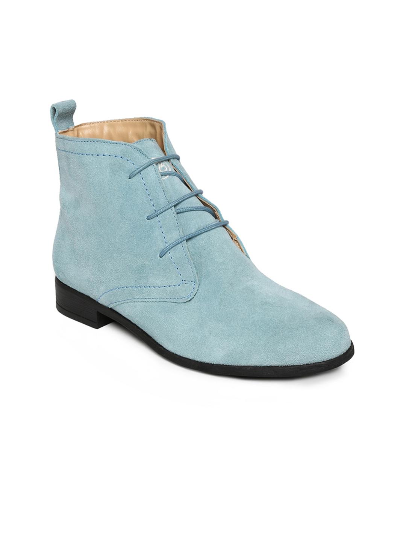 myntra la briza sky blue suede flat boots 392945