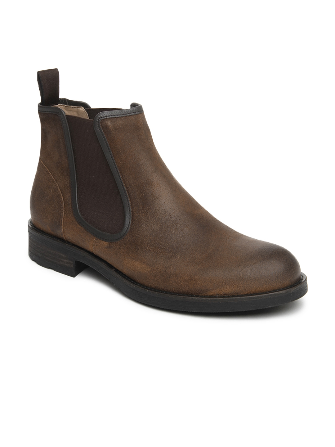myntra language brown leather semi formal boots 218332
