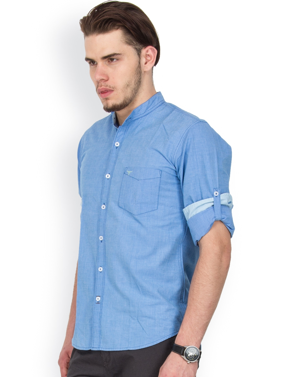 Myntra Le Bison Men Blue Tailored Fit Casual Shirt 767038
