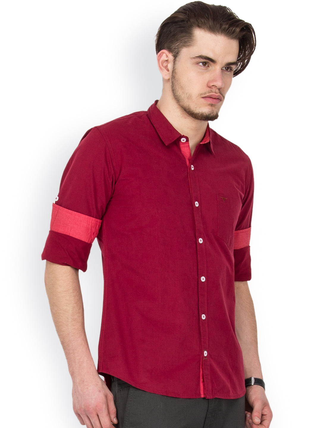 Myntra Le Bison Men Maroon Tailored Fit Casual Shirt