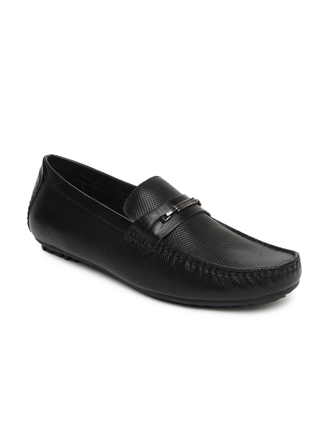 myntra cooper black leather semi formal shoes