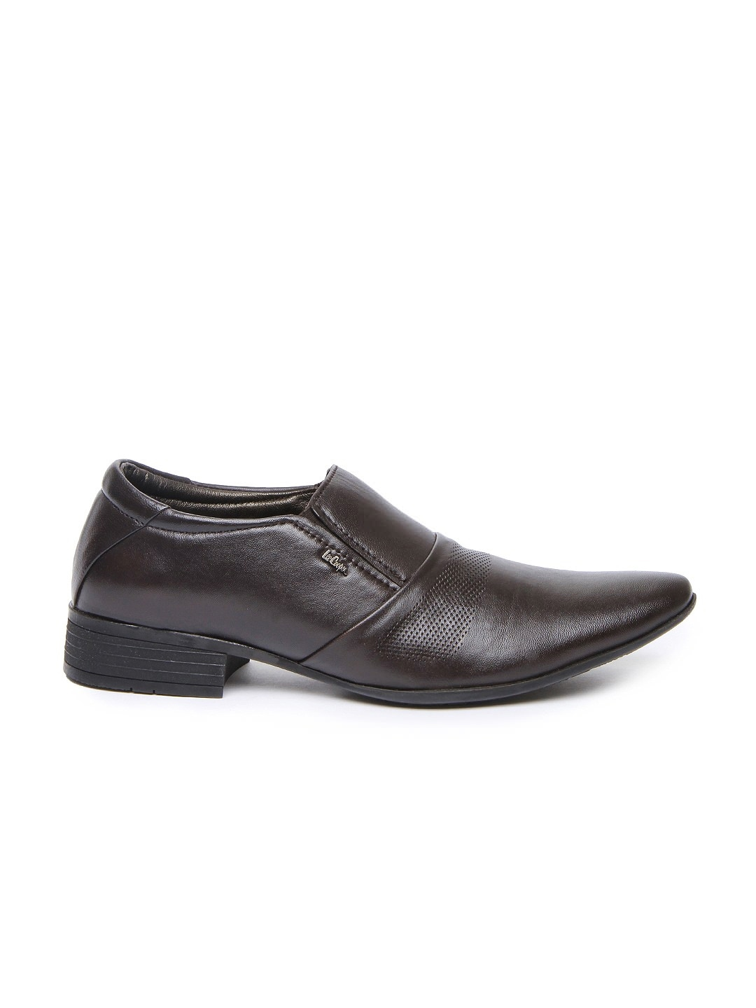 myntra cooper brown leather semi formal shoes