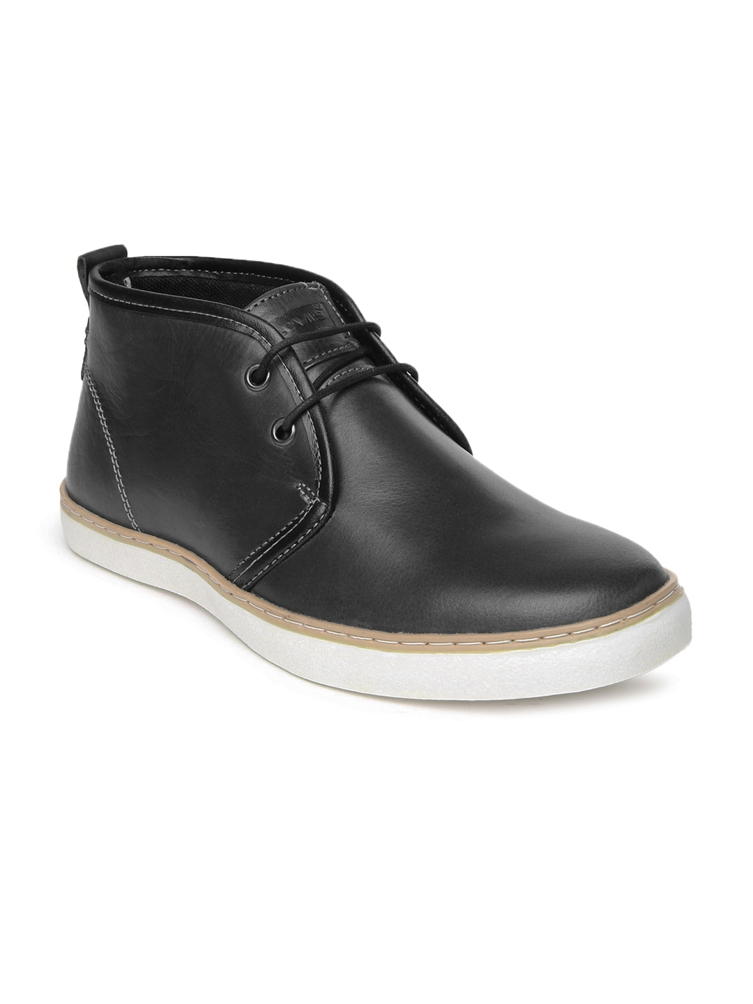 myntra levis black leather casual shoes 498064 buy