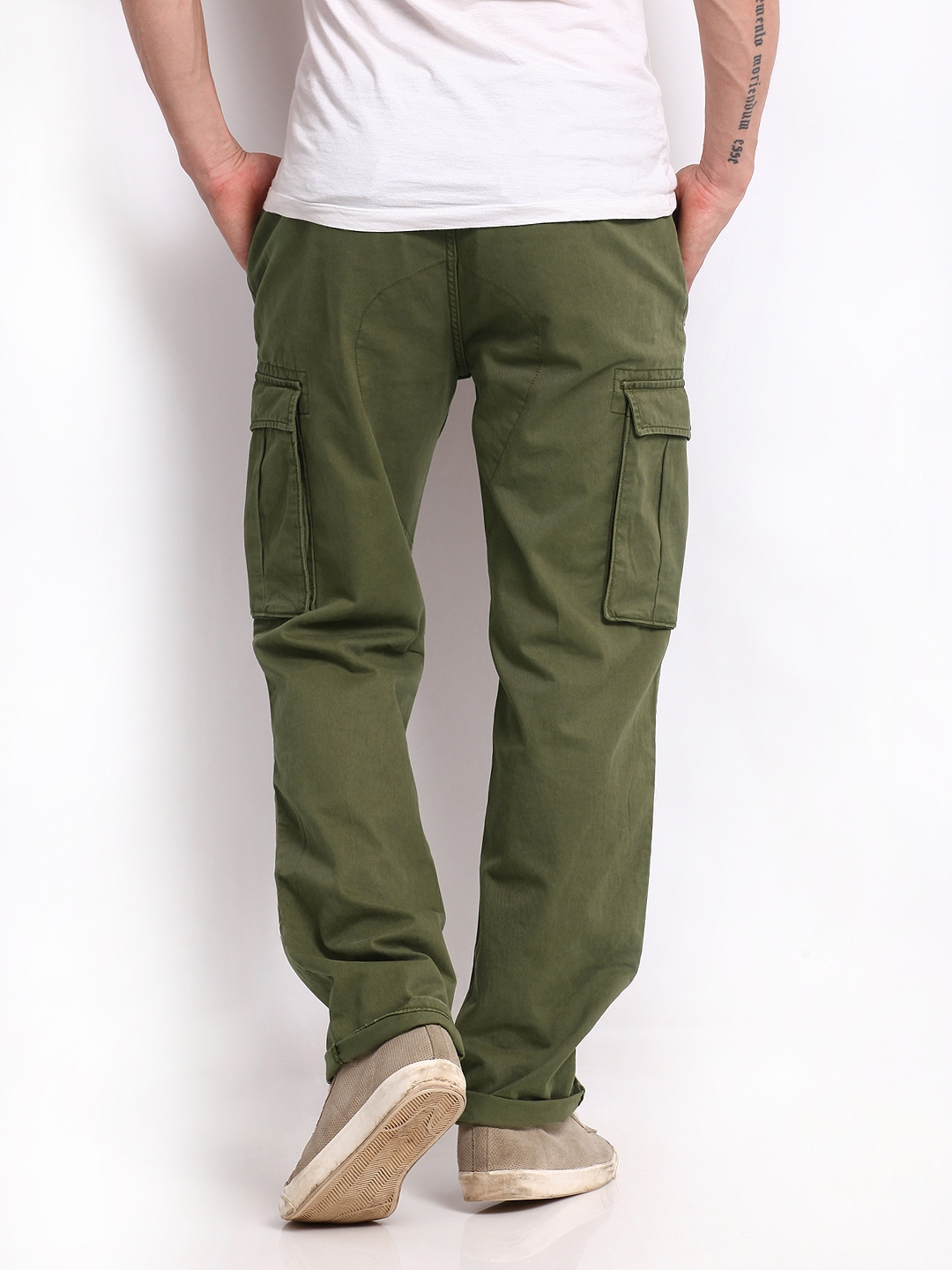 Buy Levis Men Olive Green Relaxed Fit Cargo Trousers - Trousers ...