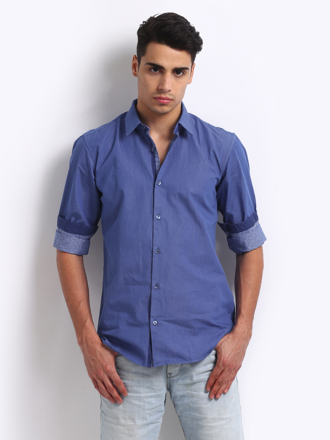 Myntra Locomotive Men Blue Tailored Fit Casual Shirt