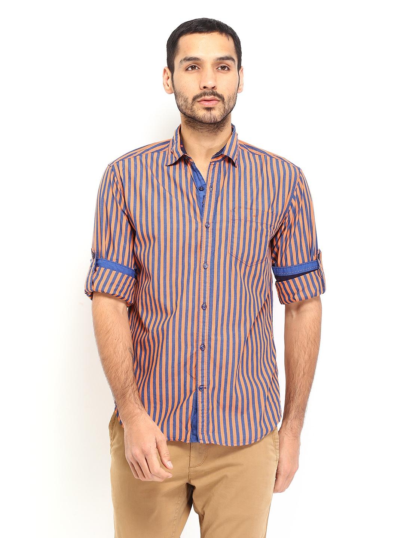 Myntra locomotive men orange navy striped slim fit for Navy slim fit shirt