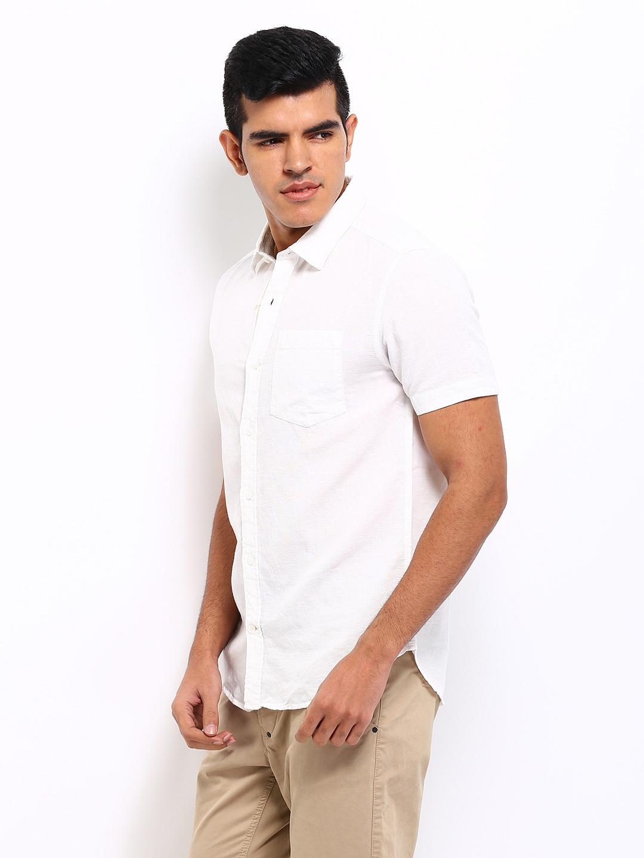 Myntra locomotive men white linen blend slim fit casual for Slim fit white linen shirt