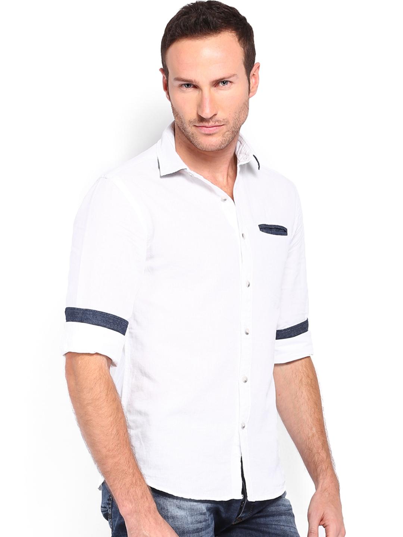 Myntra locomotive men white linen slim fit casual shirt for Slim fit white linen shirt