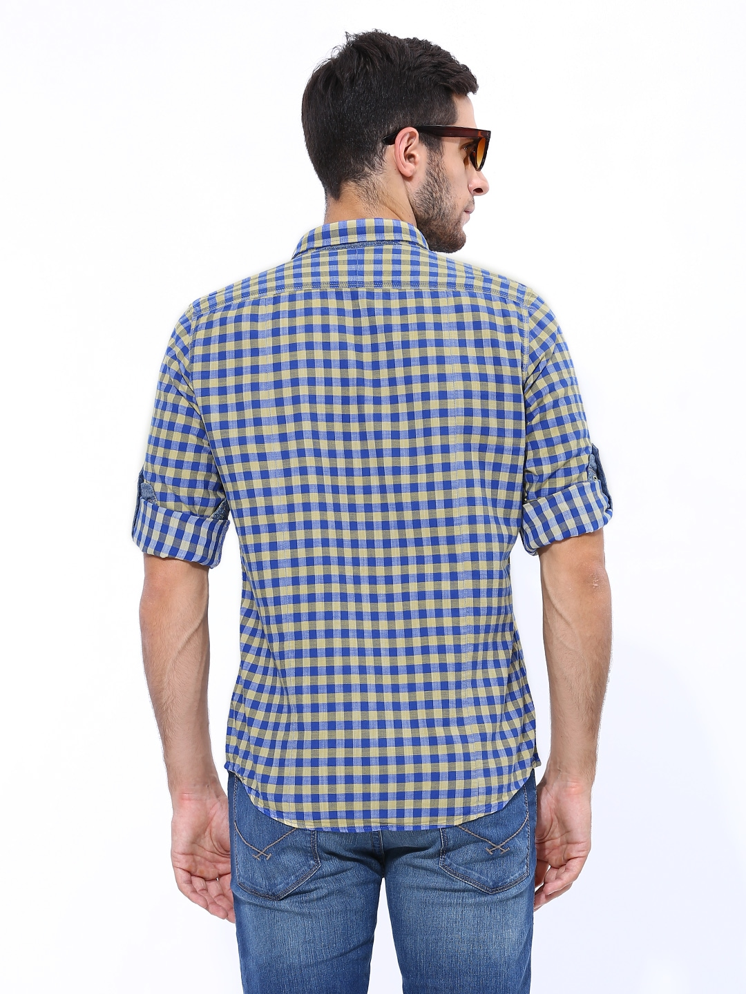 Myntra london bridge men blue yellow checked slim fit for Mens yellow gingham shirt
