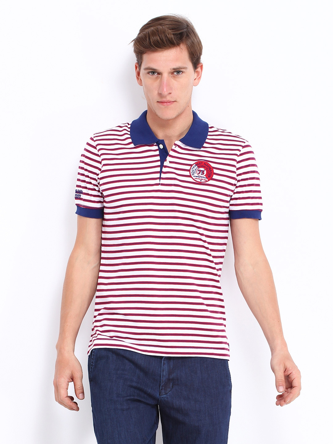 Myntra london bridge men white red striped polo t shirt for Red white striped polo shirt