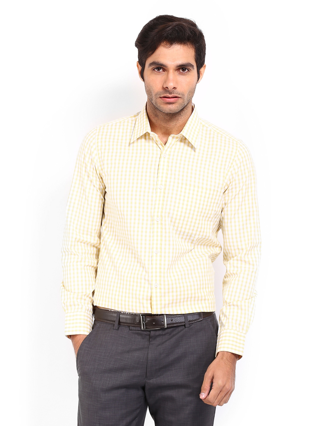 Myntra london bridge men white yellow checked slim fit for Boys white formal shirt