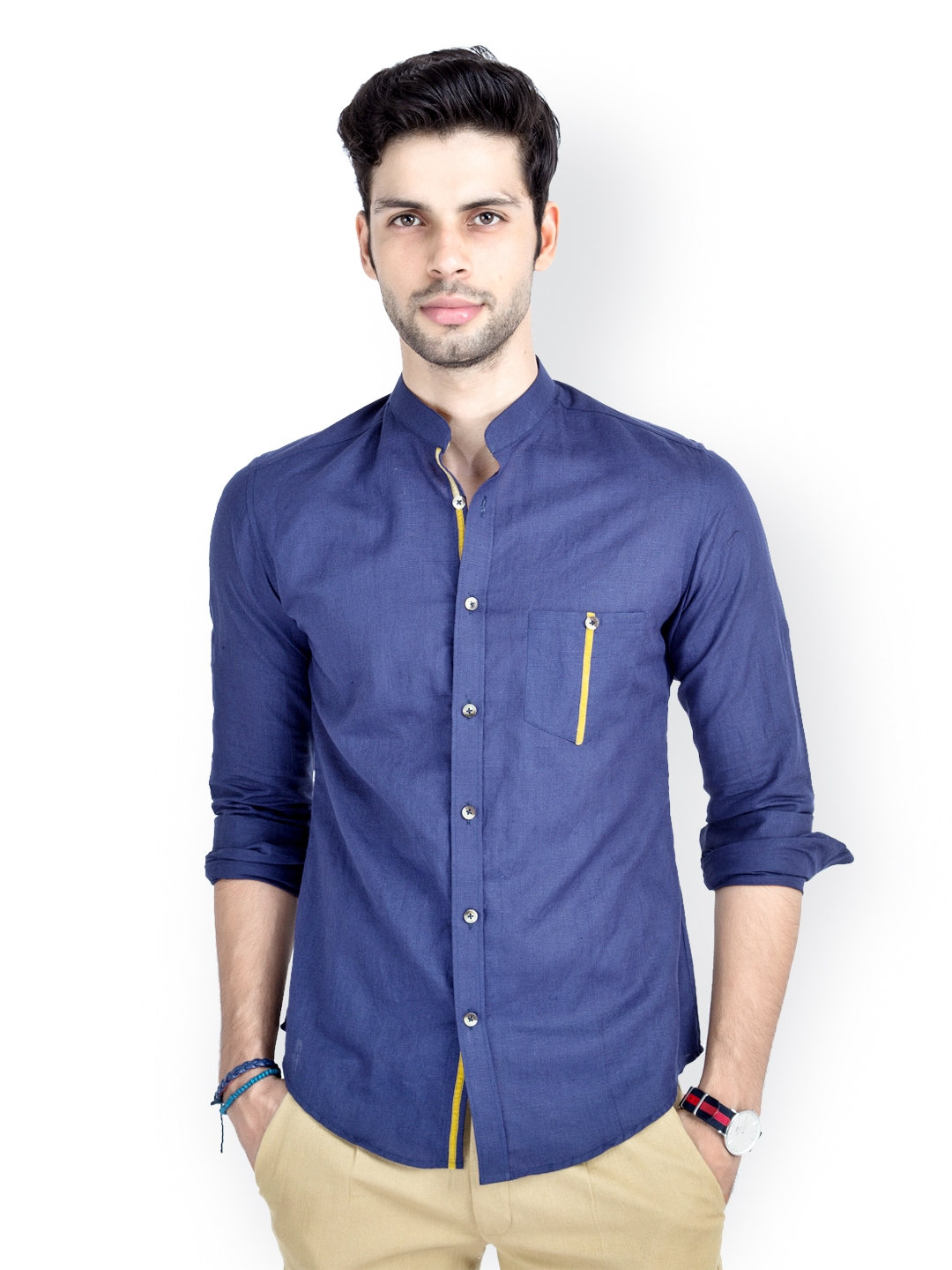 Myntra mr button men blue linen casual shirt 548105 buy for Online shopping mens shirts