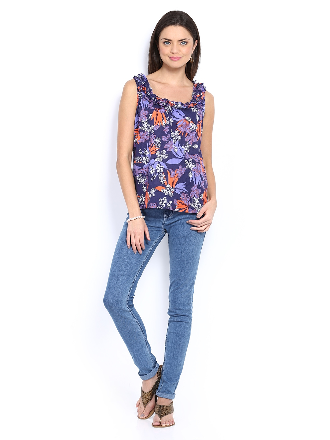 Myntra Maine by Debenhams Women Purple Printed Top 348298 ...