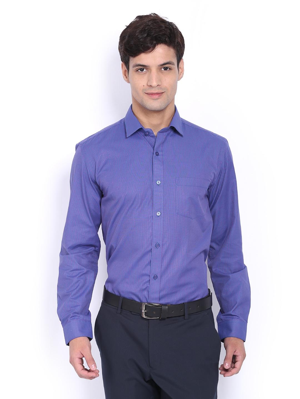 Myntra mark taylor men navy purple striped slim fit for Navy slim fit shirt