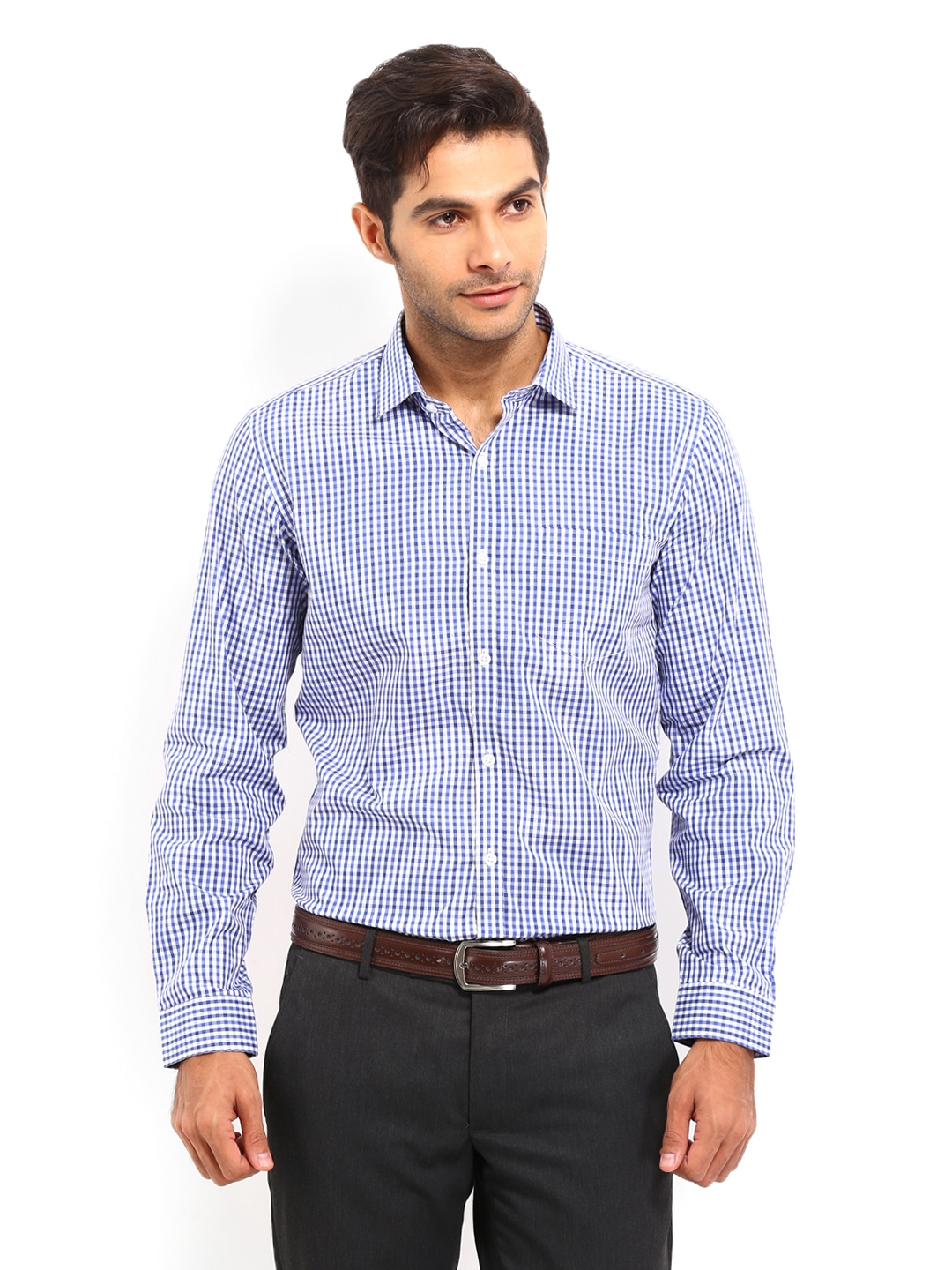Myntra mark taylor men white blue checked slim fit for Boys white formal shirt