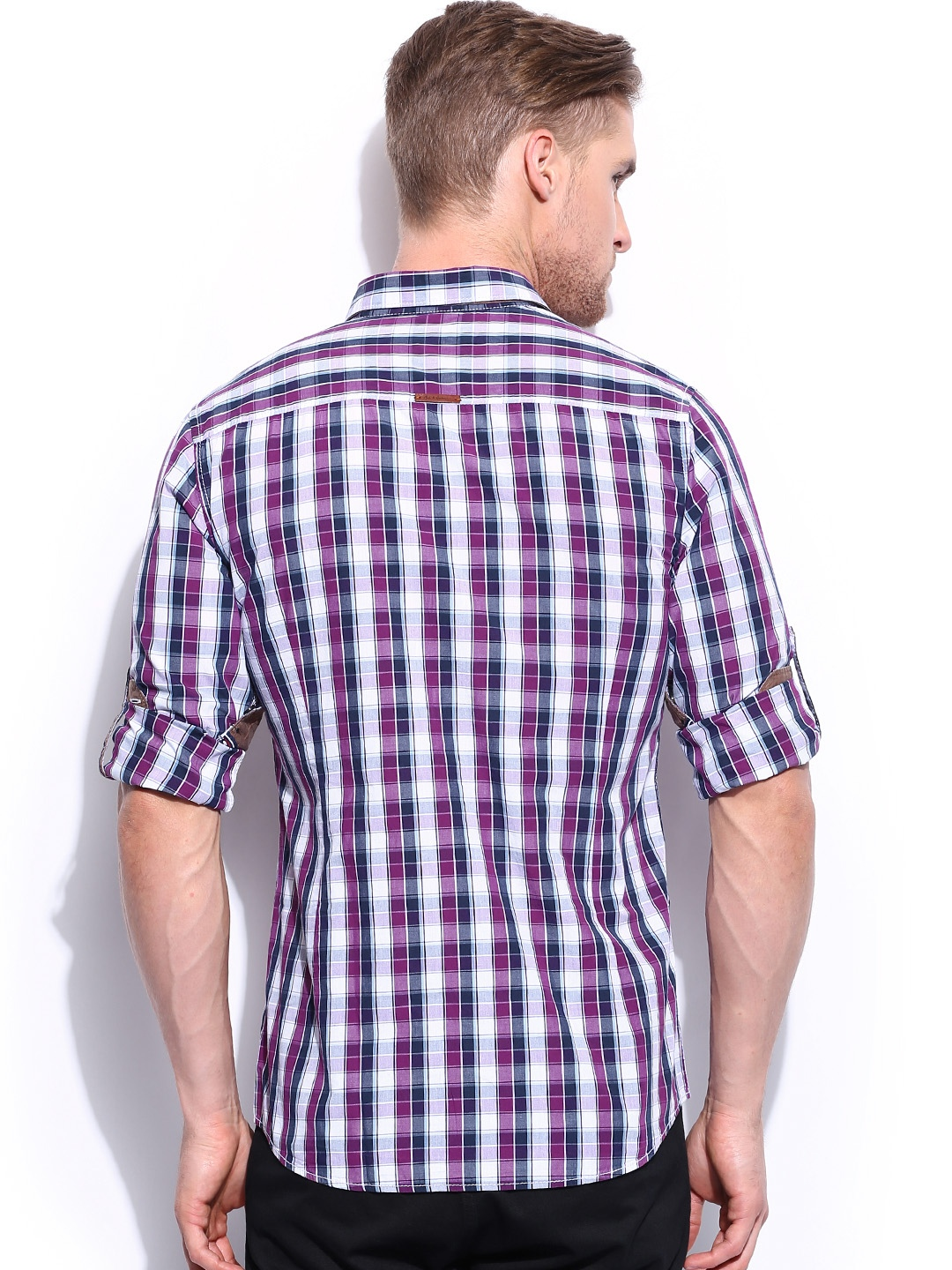 Myntra mast harbour purple white checked casual shirt for Purple and white checked shirt