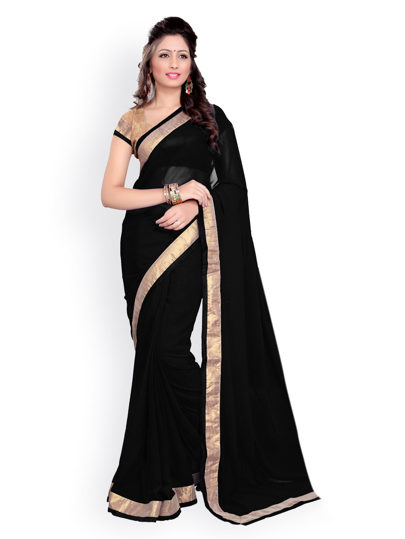 Mirchi Fashion Black Georgette Fashion Saree