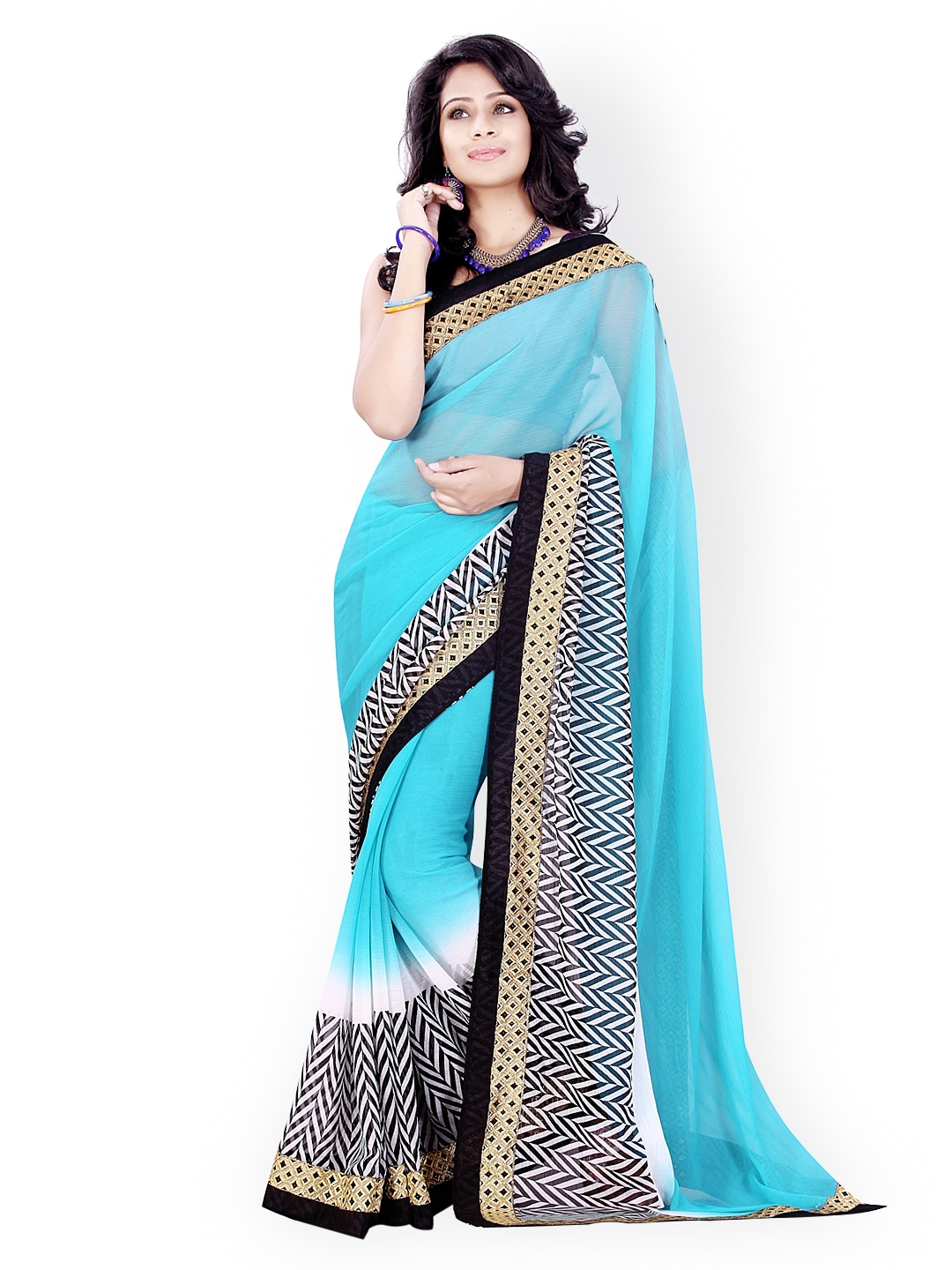 Myntra Mirchi Fashion Blue Printed Chiffon Saree