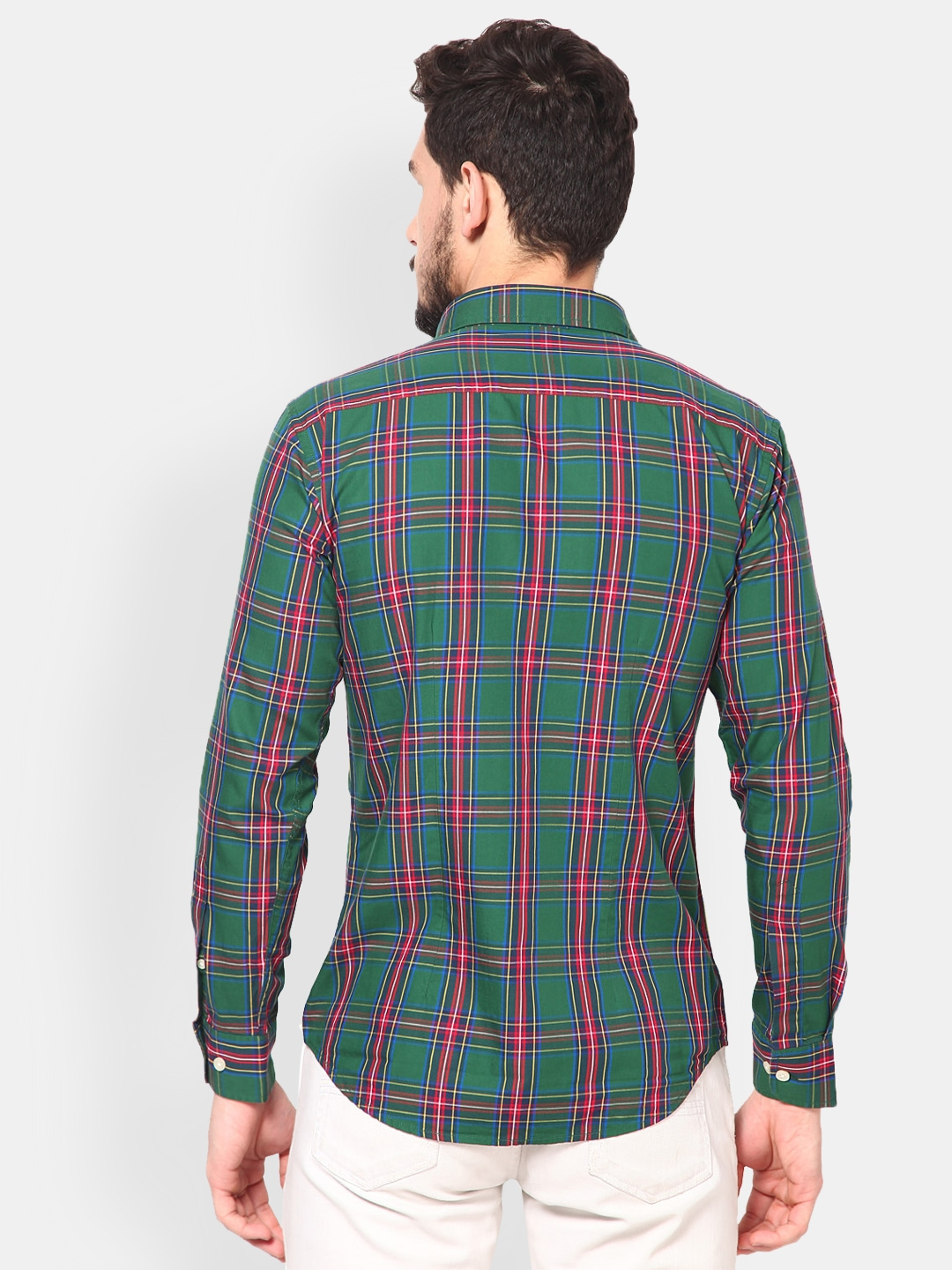 Myntra monteil munero men green red checked slim fit for Red and green checked shirt