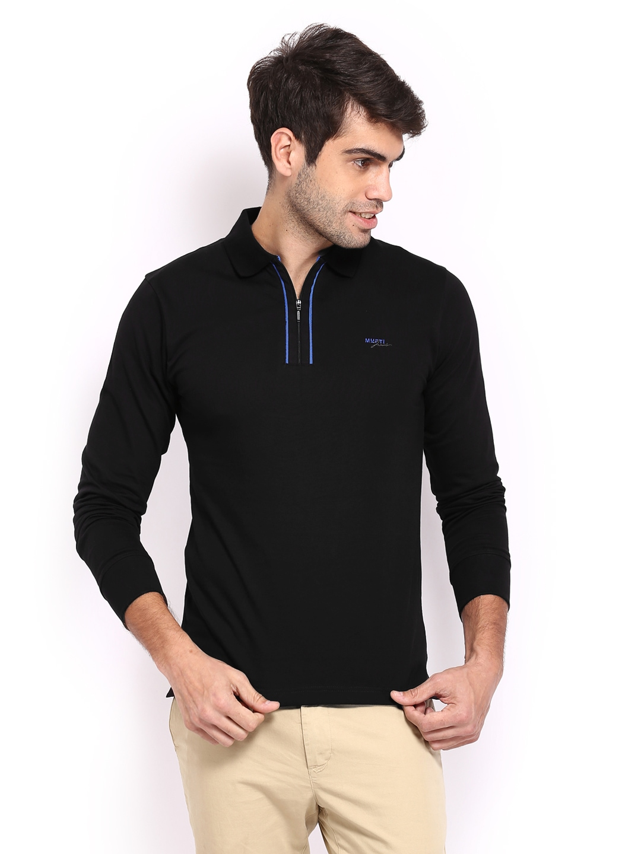 Myntra mufti men black polo t shirt 399756 buy myntra for Online shopping men t shirt