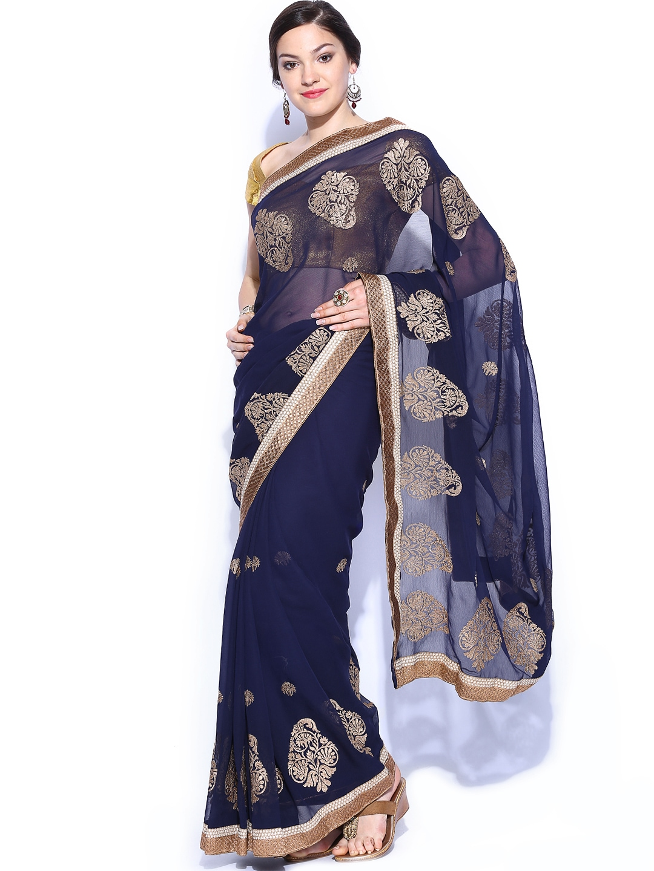 Myntra Mysilk Navy Embroidered Chiffon Fashion Saree ...