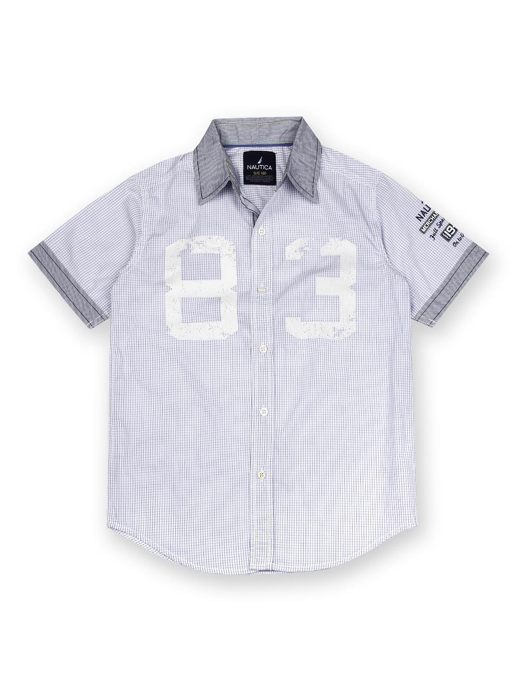 Myntra Nautica Boys White Purple Checked Shirt 413094
