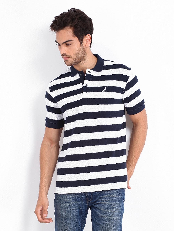 Myntra Nautica Men Navy & White Striped Polo T-shirt ...