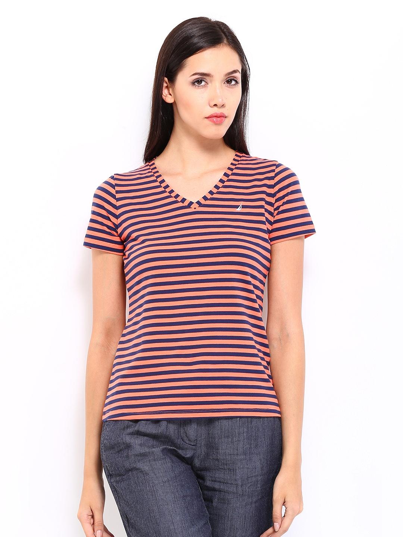 Myntra nautica women orange navy striped t shirt 257829 for Best striped t shirt