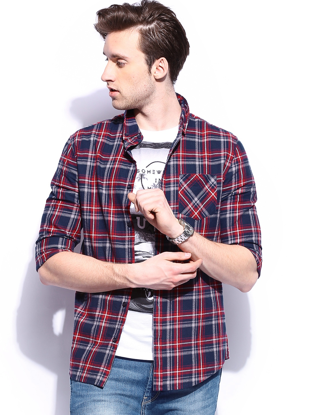 Shirt design new look - Buy New Look Men Navy Red Checked Casual Shirt Shirts For Men Myntra