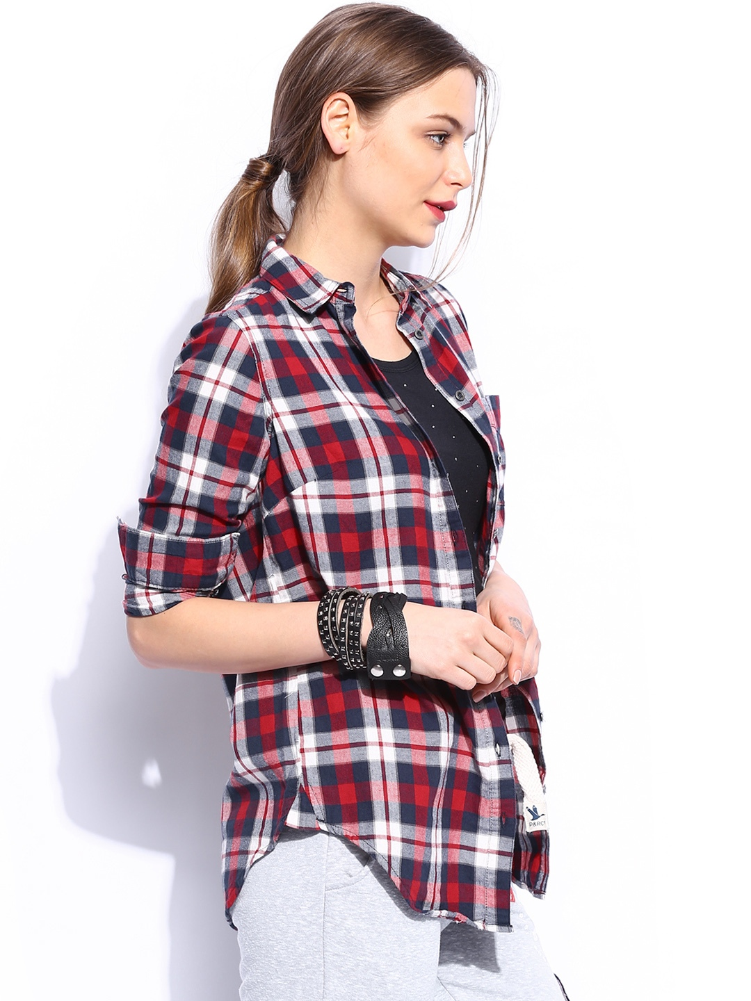 Shirt design new look - Buy New Look Women Navy Red Checked Shirt Shirts For Women Myntra