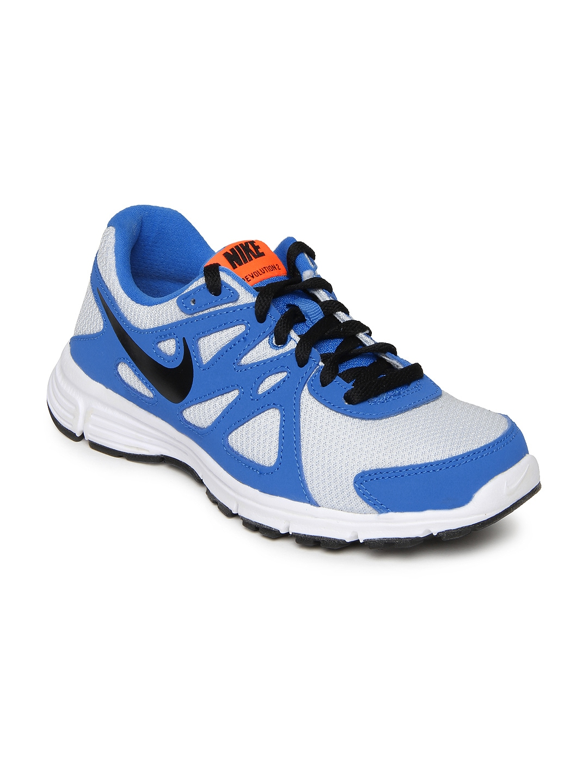 myntra nike boys blue white revolution 2 gs running