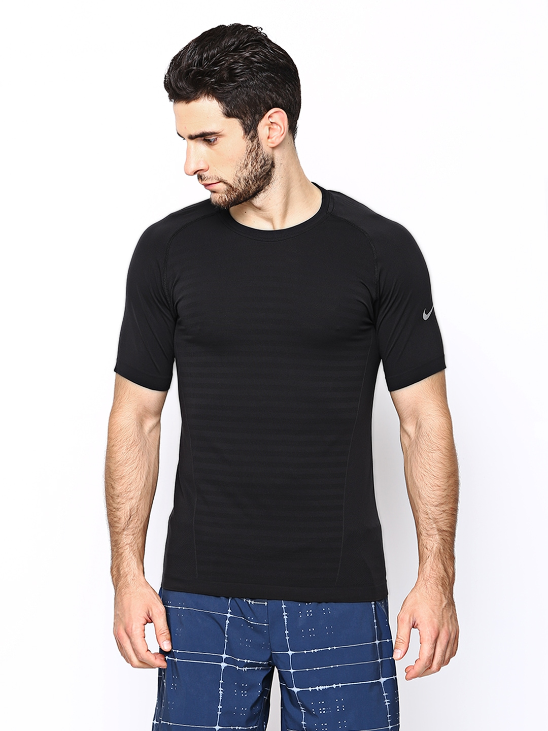 Myntra nike men black as dri fit knit novelty crew running for Buy dri fit shirts