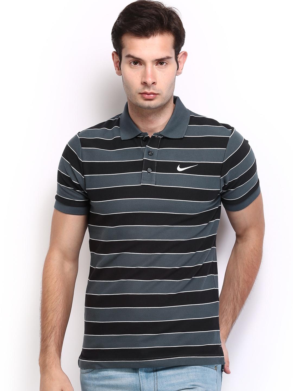Myntra nike men grey black striped polo t shirt 612236 Grey striped t shirt
