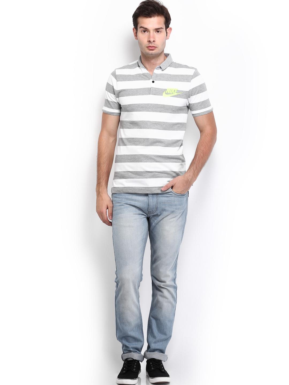 Myntra nike men grey white striped polo t shirt 612234 Grey striped t shirt
