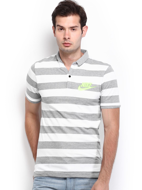 Myntra Nike Men Grey & White Striped Polo T-shirt 612234 ...