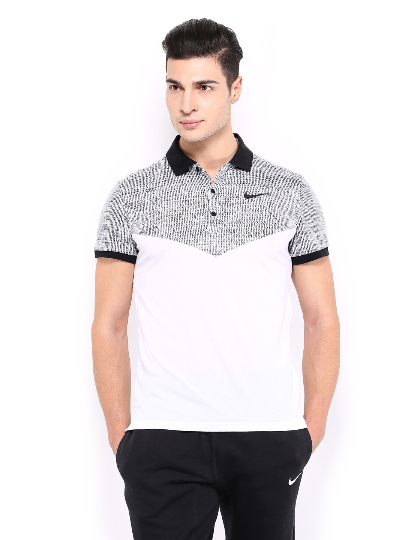 Myntra nike men white as dri fit touch printed tennis polo for Polo t shirt printing