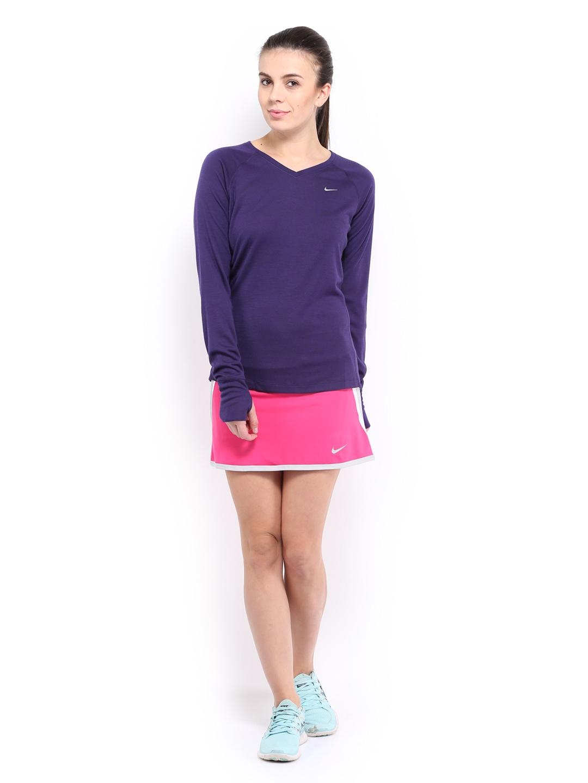 Myntra nike women purple dri fit wool t shirt 487694 buy for Dri fit material shirts