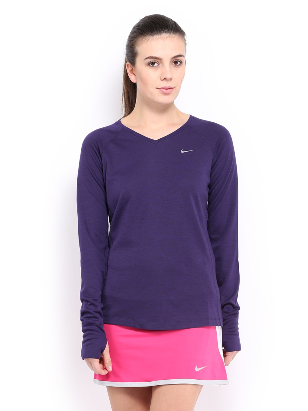 Myntra nike women purple dri fit wool t shirt 487694 buy for Buy dri fit shirts