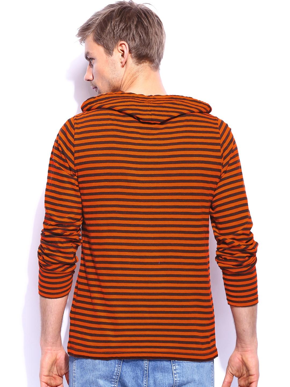 Myntra noble faith men orange black striped t shirt for Best striped t shirt