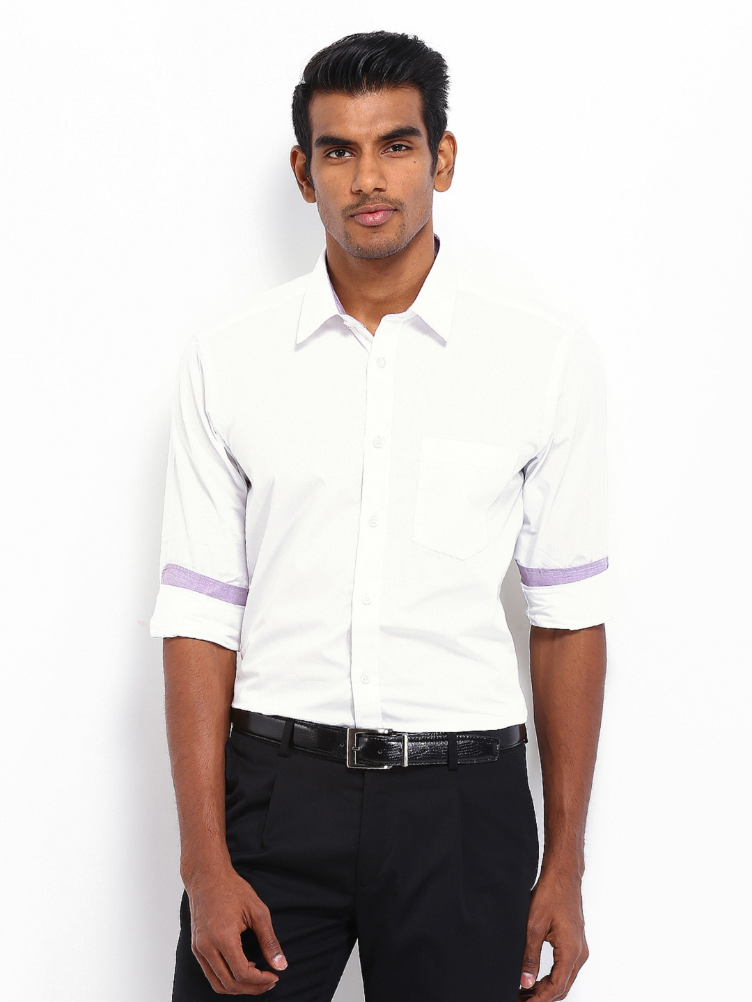 Myntra nord51 men white semi slim fit formal shirt 394110 for Mens formal white shirts