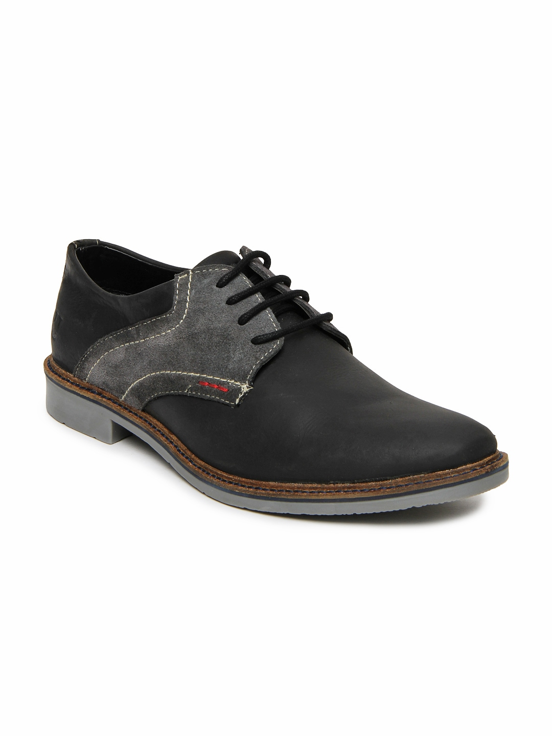 myntra numero uno black leather casual shoes 408711
