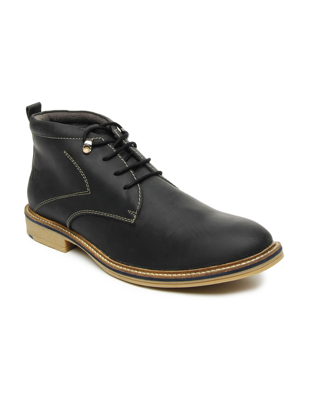 myntra numero uno black leather casual shoes 388904
