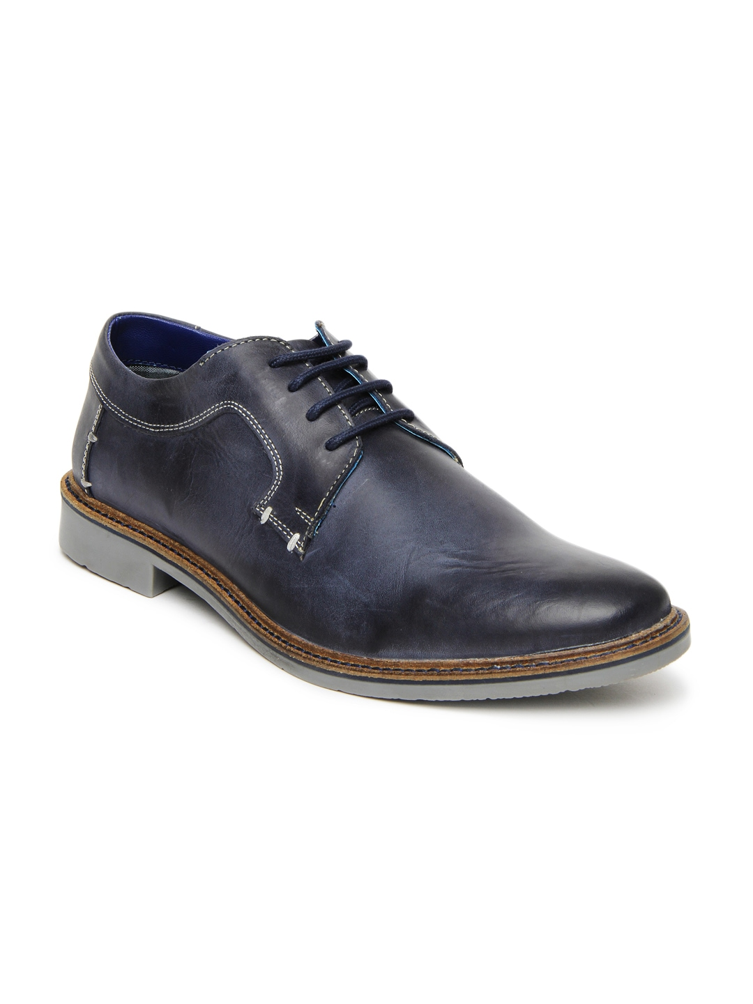 myntra numero uno blue leather casual shoes 391453