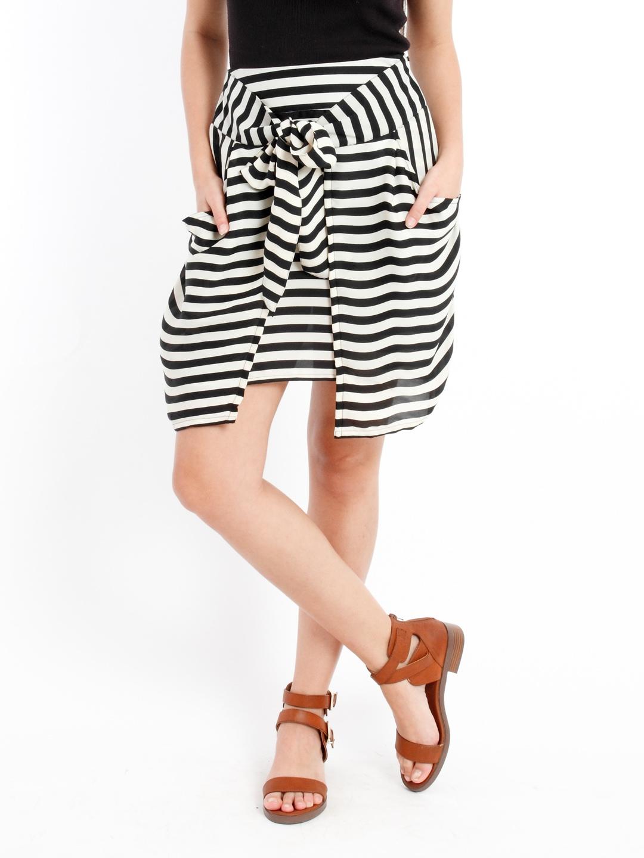 myntra black white striped a line skirt 762795 buy